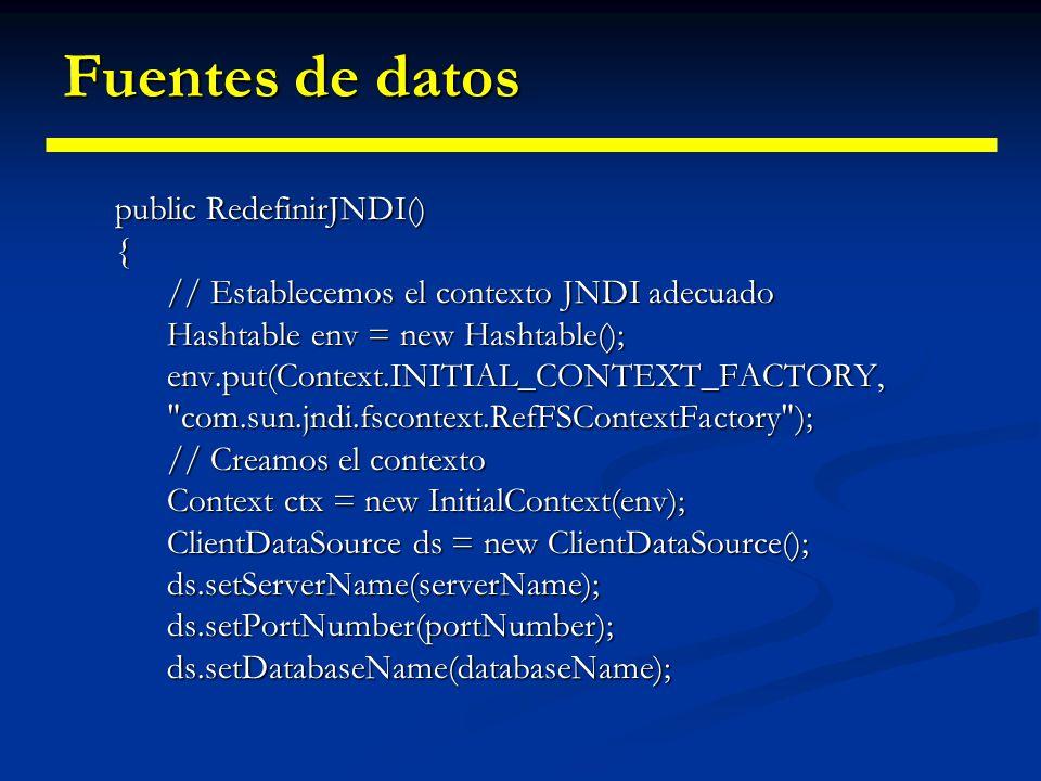Fuentes de datos Redefinir una fuente de datos Redefinir una fuente de datos // Definimos los parámetros para esta fuente de datos private String serv