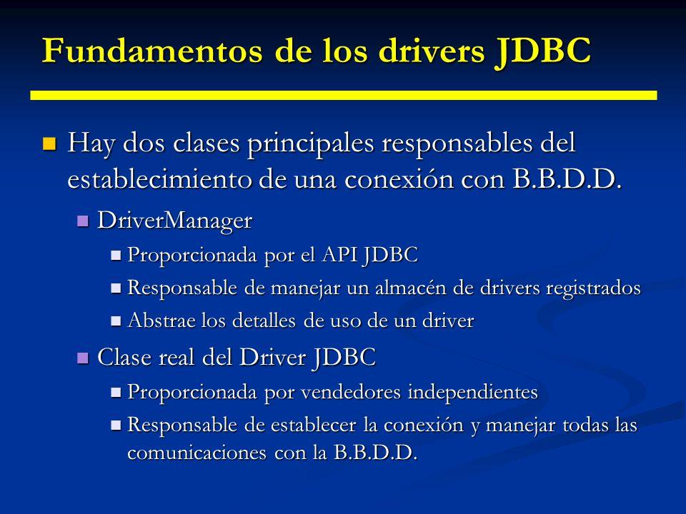 Arquitectura JDBC La filosofía de JDBC es proporcionar transparencia al desarrollador frente al gestor de BD. La filosofía de JDBC es proporcionar tra