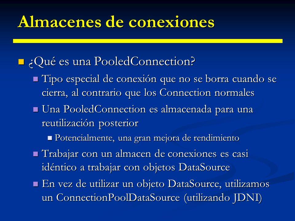 Almacenes de conexiones La llamada de retorno es enviada de vuelta al cliente JDBC (incluyendo pasos por routers y cortafuegos) La llamada de retorno