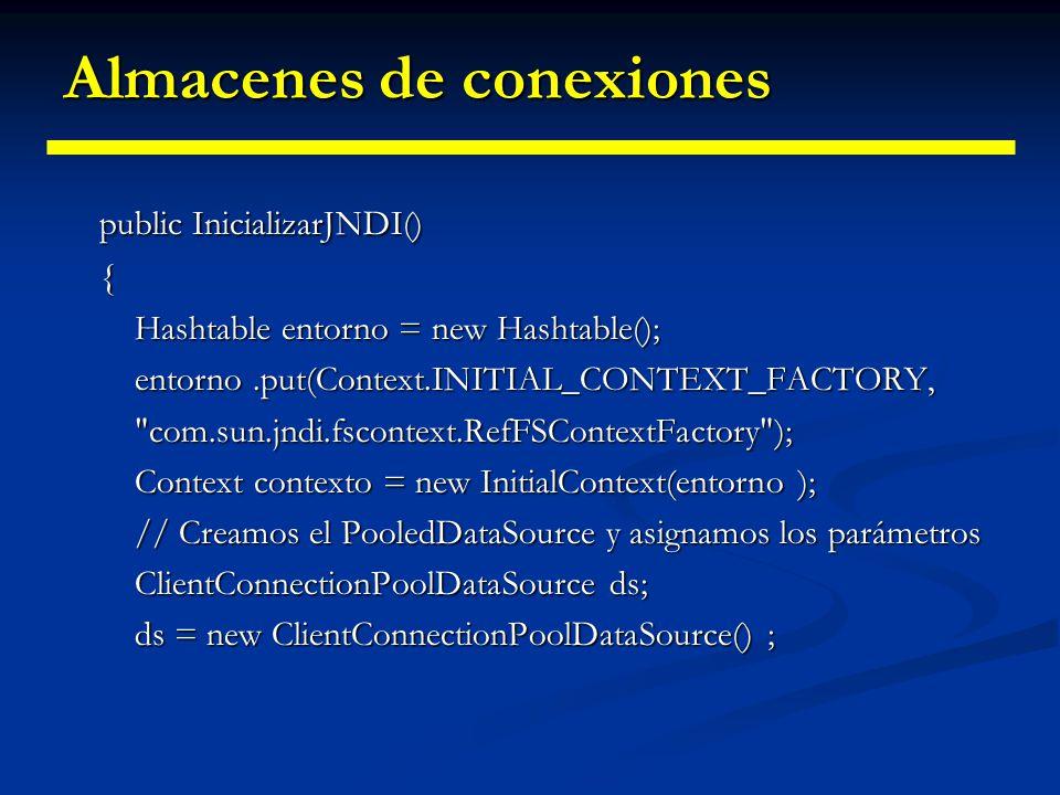 Almacenes de conexiones public class InicializarJNDI { private String servidor =