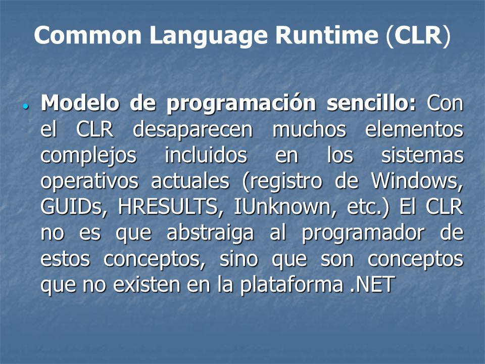 Common Language Runtime (CLR) Eliminación del infierno de las DLLs: Eliminación del infierno de las DLLs: Problema que consiste en que al sustituirse versiones viejas de DLLs compartidas por versiones nuevas puede que aplicaciones que fueron diseñadas para ser ejecutadas usando las viejas dejen de funcionar si las nuevas no son 100% compatibles con las anteriores.