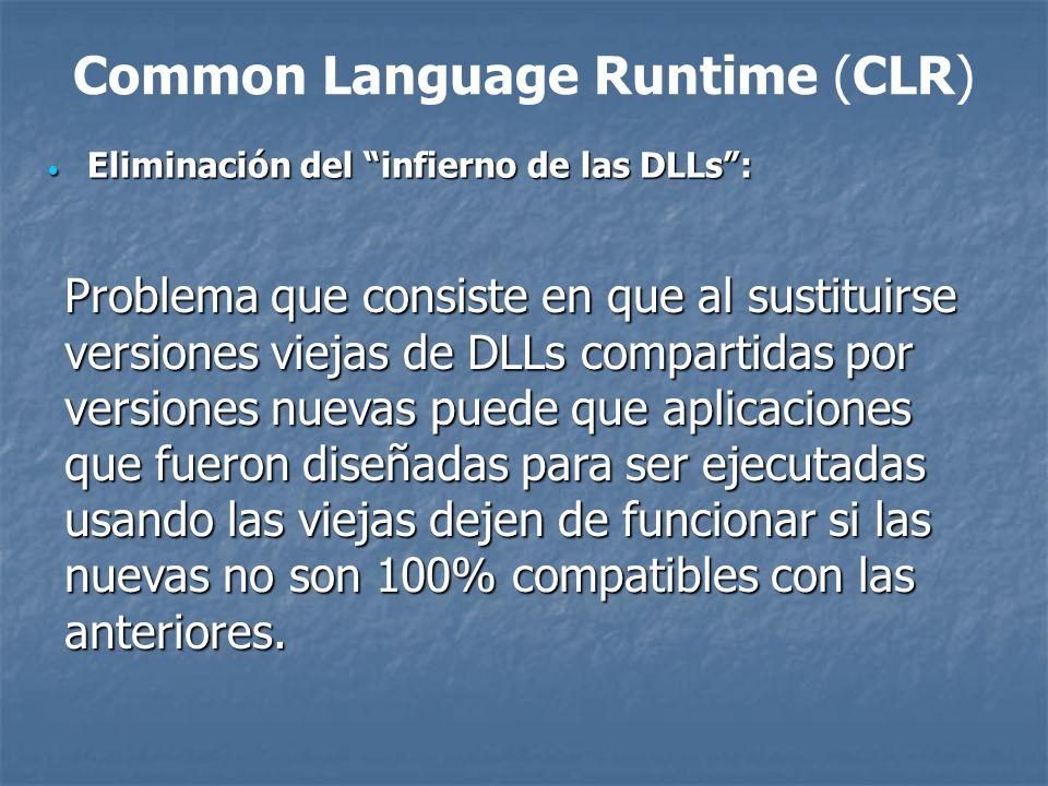 Infierno de las DLL Component.DLL version 1.1.0.1 COM Class EmployeCatalog Public Sub LoadEmploye(name as String) Public Sub LoadEmploye(name as String) DB.Find(name) DB.Find(name) End Sub End Sub Component.DLL version 1.1.0.2 COM Class EmployeCatalog Public Sub LoadEmploye(name as String, loadPartial as boolean) Public Sub LoadEmploye(name as String, loadPartial as boolean) DB.Partial = loadPartial DB.Partial = loadPartial DB.Find(name) DB.Find(name) End Sub End Sub <% Set objEmpl = Server.CreateObject (Conponent.EmployeCatalog) objEmpl.LoadEmploye(anonymous) %> Runtime Error!!!