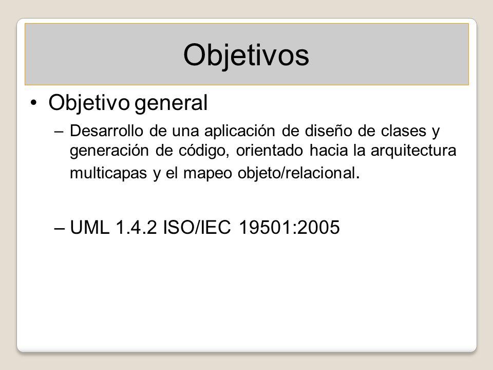 Objetivos Objetivo general –Desarrollo de una aplicación de diseño de clases y generación de código, orientado hacia la arquitectura multicapas y el m
