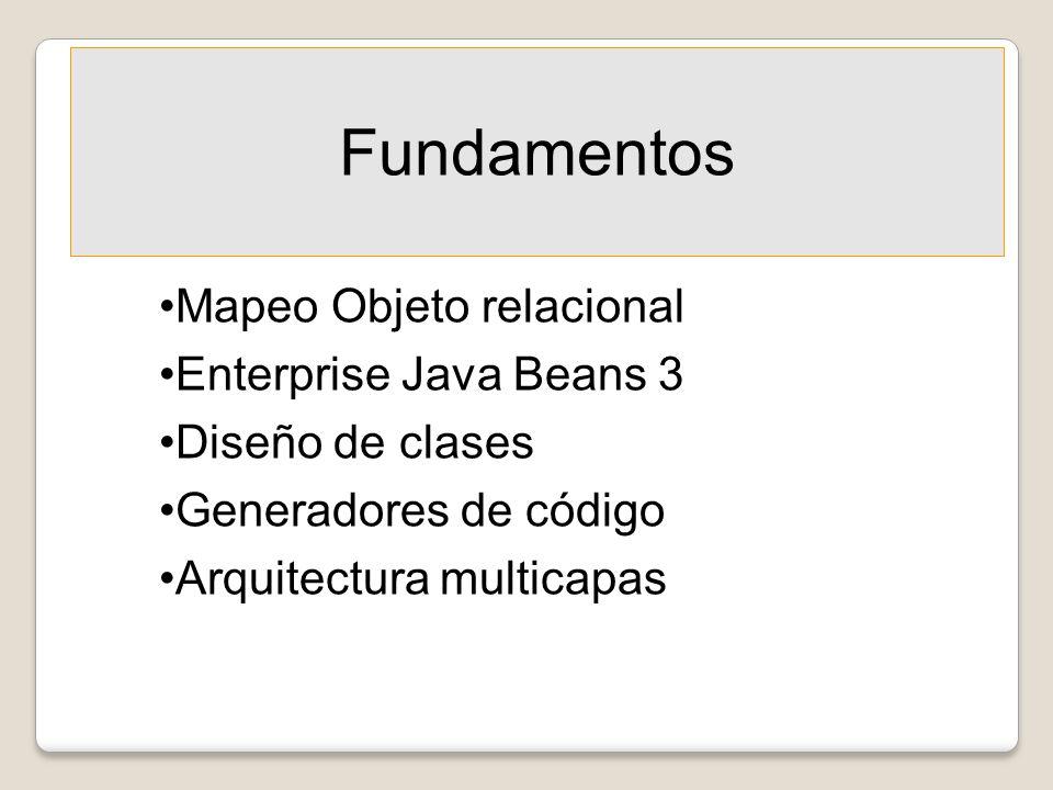 Fundamentos Mapeo Objeto relacional Enterprise Java Beans 3 Diseño de clases Generadores de código Arquitectura multicapas