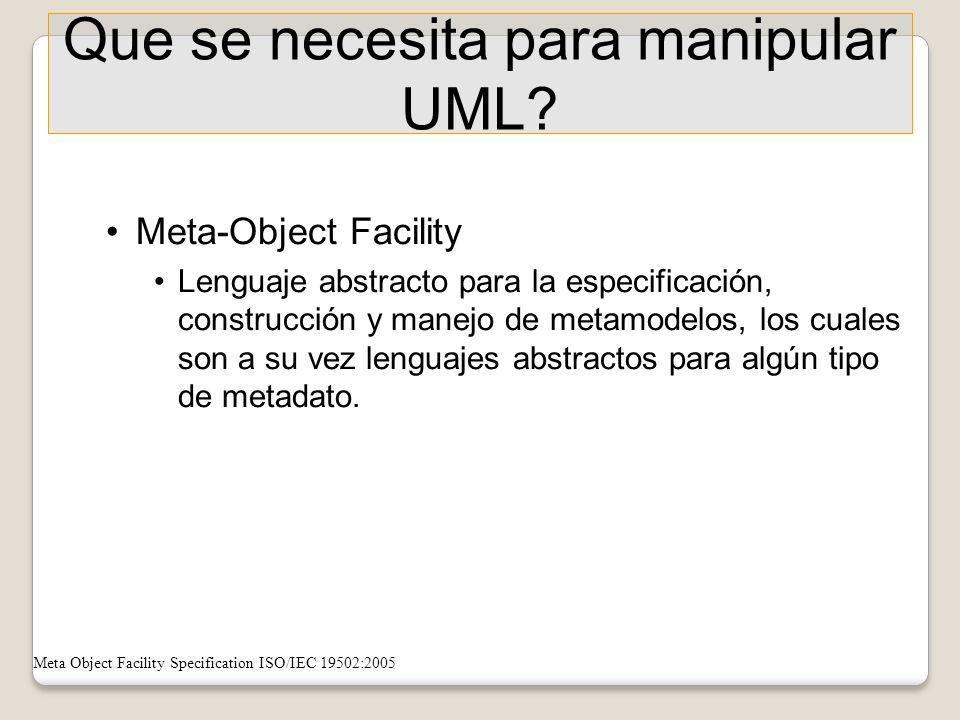 Que se necesita para manipular UML? Meta-Object Facility Lenguaje abstracto para la especificación, construcción y manejo de metamodelos, los cuales s