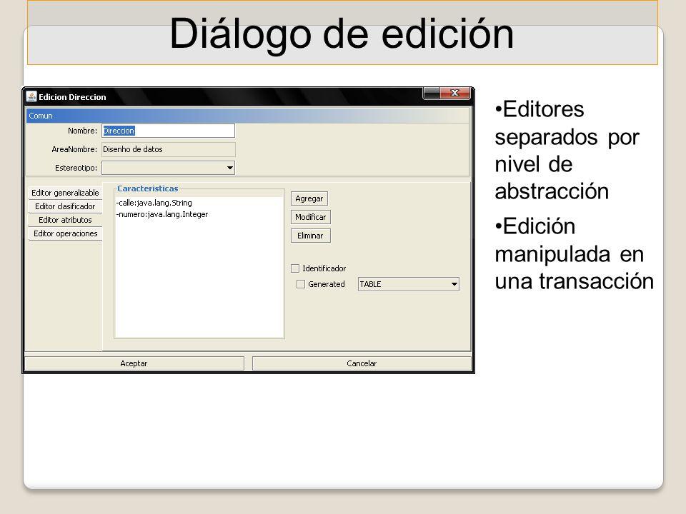 Diálogo de edición Editores separados por nivel de abstracción Edición manipulada en una transacción