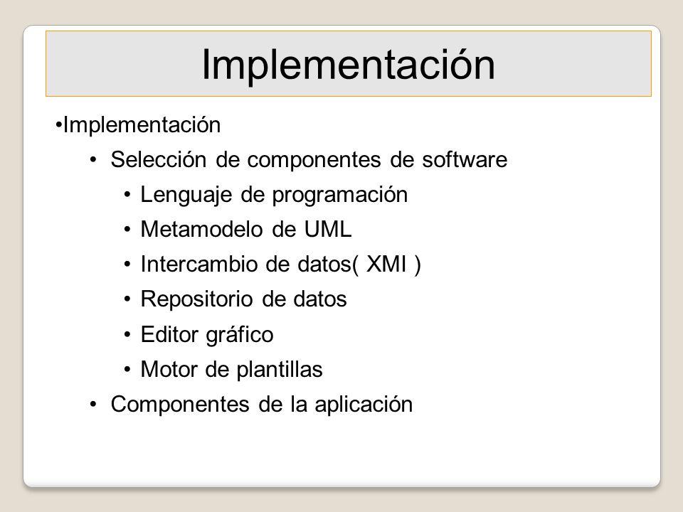 Implementación Selección de componentes de software Lenguaje de programación Metamodelo de UML Intercambio de datos( XMI ) Repositorio de datos Editor