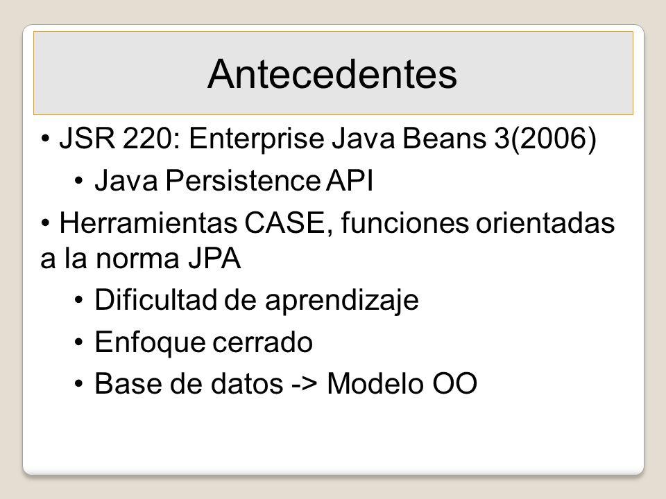 Antecedentes JSR 220: Enterprise Java Beans 3(2006) Java Persistence API Herramientas CASE, funciones orientadas a la norma JPA Dificultad de aprendiz