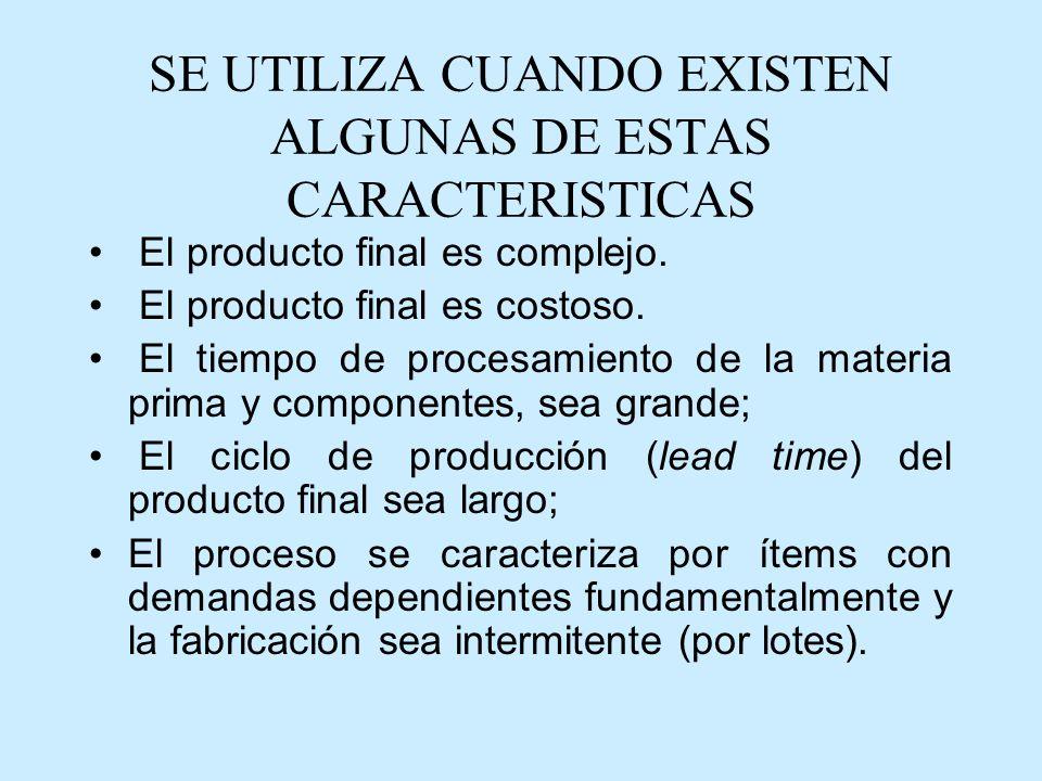 SE UTILIZA CUANDO EXISTEN ALGUNAS DE ESTAS CARACTERISTICAS El producto final es complejo.