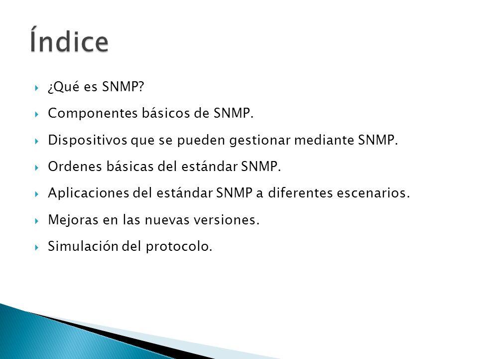 ¿Qué es SNMP? Componentes básicos de SNMP. Dispositivos que se pueden gestionar mediante SNMP. Ordenes básicas del estándar SNMP. Aplicaciones del est