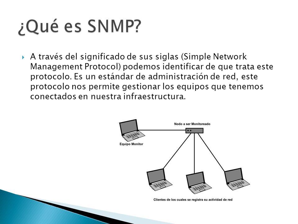 Para poder tener esta gestión este protocolo tiene una estructura basada en agentes instalados y un equipo que ejerce el rol de NMS que se encargara de contactar con los distintos agentes para poder recopilar la información que proporcionan estos.
