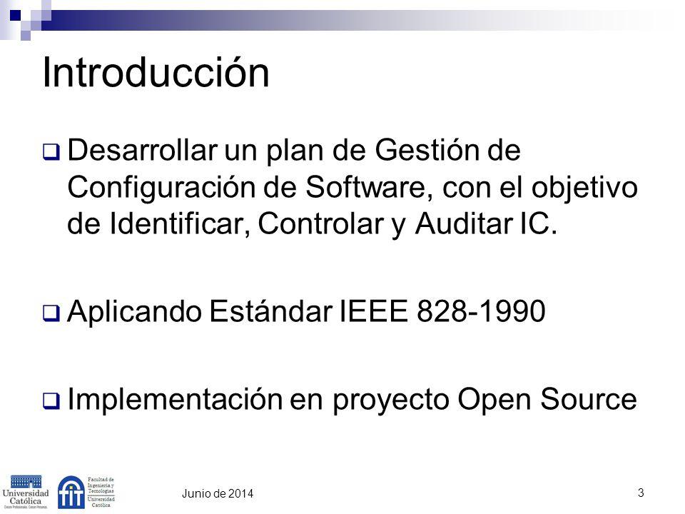 3 Introducción Desarrollar un plan de Gestión de Configuración de Software, con el objetivo de Identificar, Controlar y Auditar IC. Aplicando Estándar