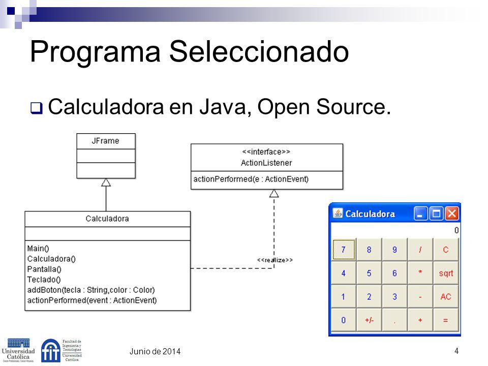 5 Junio de 2014 Programa Seleccionado Clase extiende de JFrame (awt) Clase implementa interfaz ActionListener Captura de Eventos (Teclado, Mouse) Métodos para rellenar el form: Pantalla: Visor de la Calculadora Teclado: Botones de la Calculadora