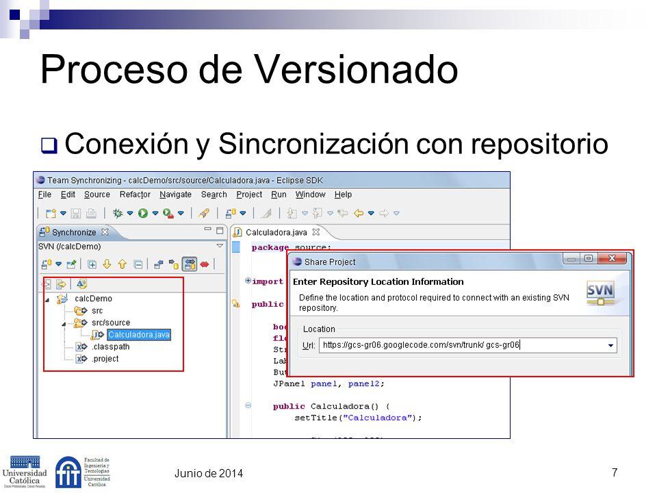 7 Junio de 2014 Proceso de Versionado Conexión y Sincronización con repositorio