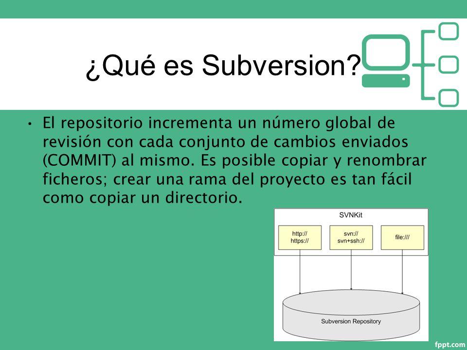 El repositorio incrementa un número global de revisión con cada conjunto de cambios enviados (COMMIT) al mismo.