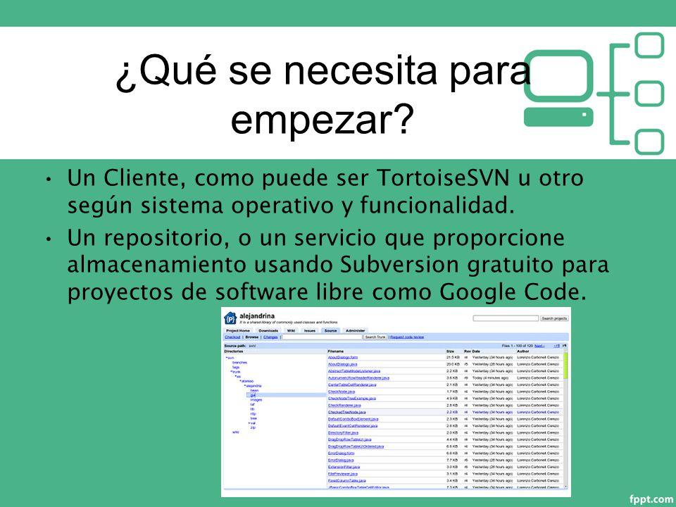 Un Cliente, como puede ser TortoiseSVN u otro según sistema operativo y funcionalidad.