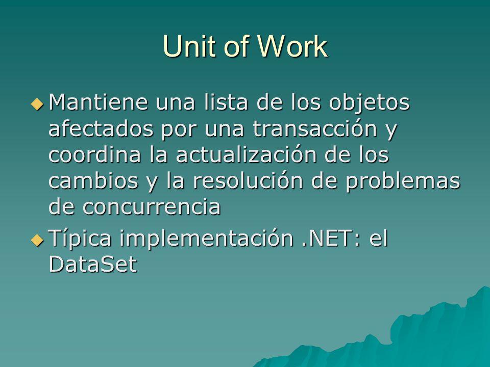 Unit of Work Mantiene una lista de los objetos afectados por una transacción y coordina la actualización de los cambios y la resolución de problemas d