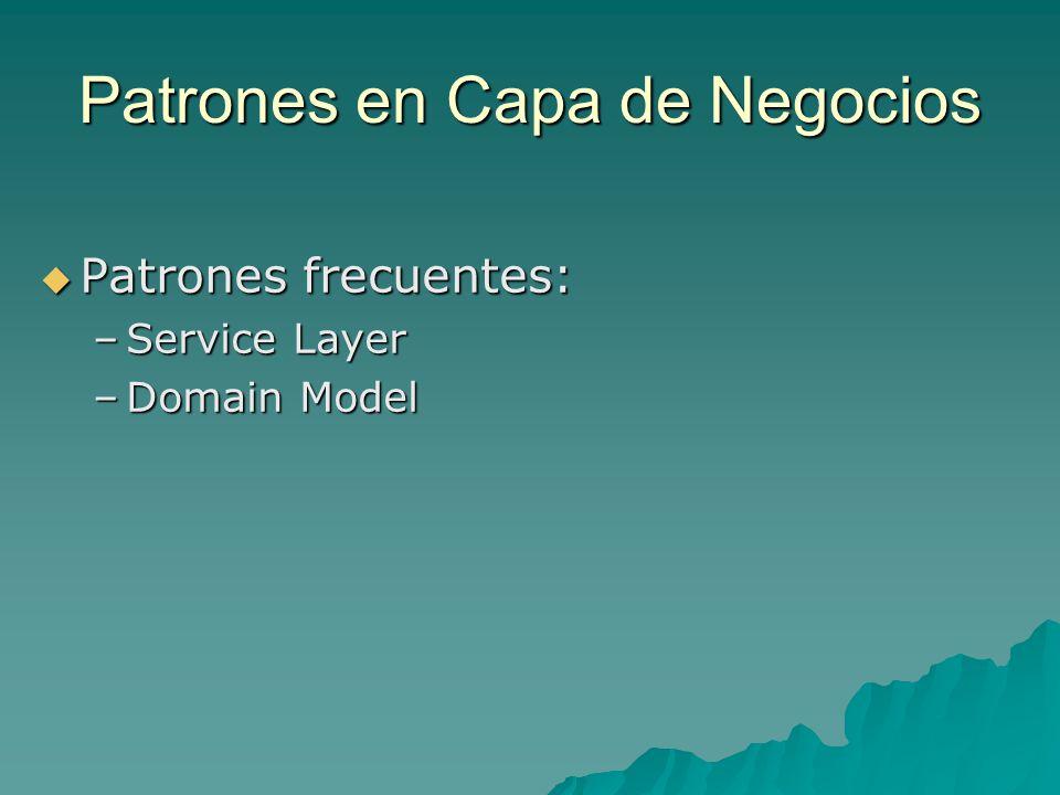 Patrones en Capa de Negocios Patrones frecuentes: Patrones frecuentes: –Service Layer –Domain Model