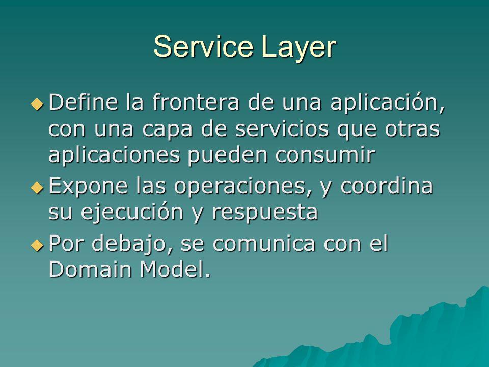 Service Layer Define la frontera de una aplicación, con una capa de servicios que otras aplicaciones pueden consumir Define la frontera de una aplicac