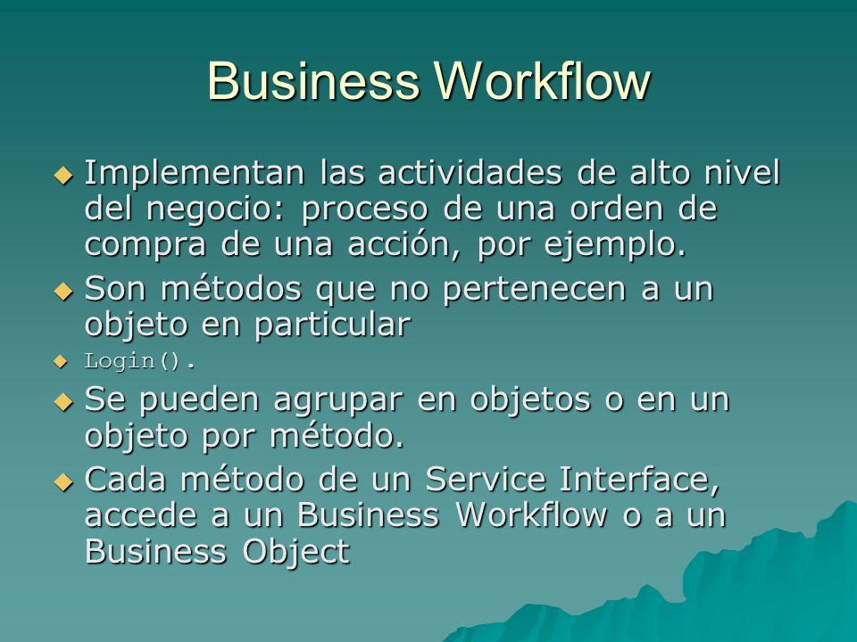 Business Workflow Implementan las actividades de alto nivel del negocio: proceso de una orden de compra de una acción, por ejemplo. Implementan las ac