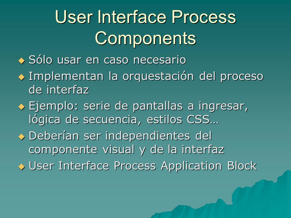 User Interface Process Components Sólo usar en caso necesario Sólo usar en caso necesario Implementan la orquestación del proceso de interfaz Implemen
