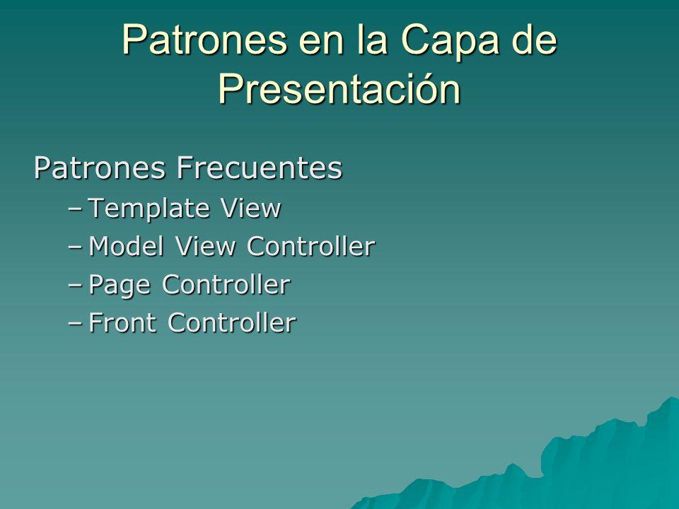 Patrones en la Capa de Presentación Patrones Frecuentes –Template View –Model View Controller –Page Controller –Front Controller