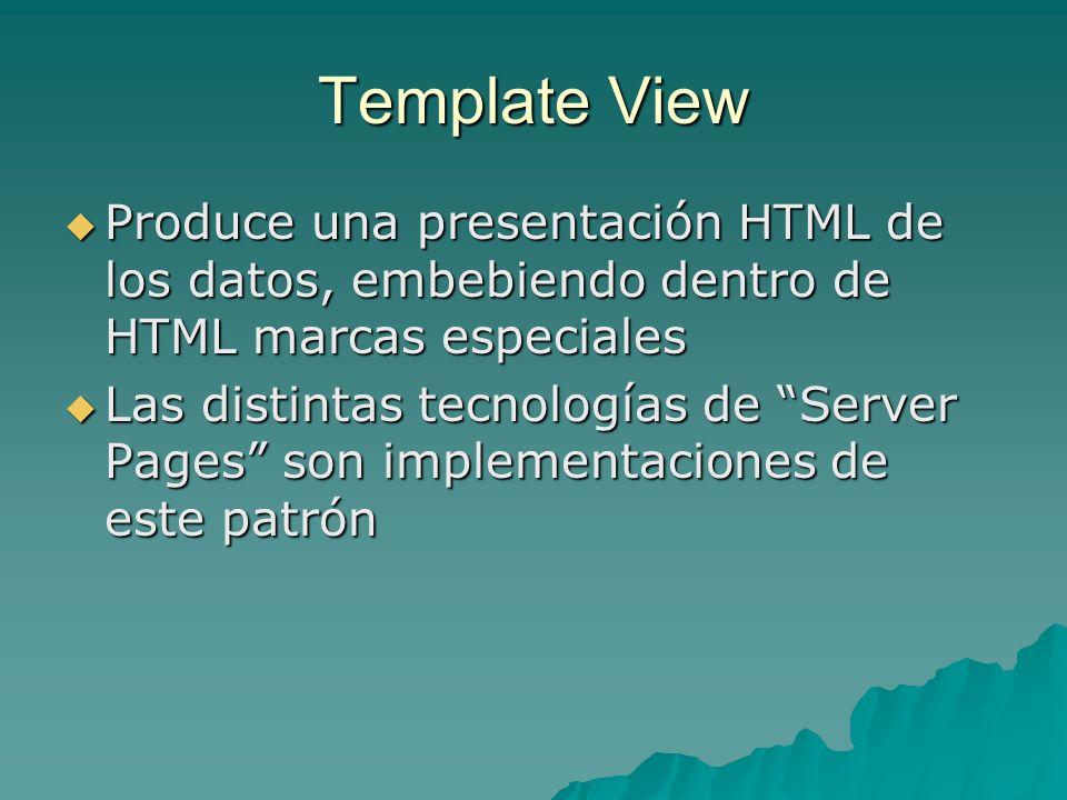Template View Produce una presentación HTML de los datos, embebiendo dentro de HTML marcas especiales Produce una presentación HTML de los datos, embe
