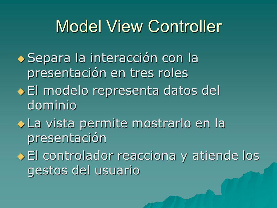 Model View Controller Separa la interacción con la presentación en tres roles Separa la interacción con la presentación en tres roles El modelo repres