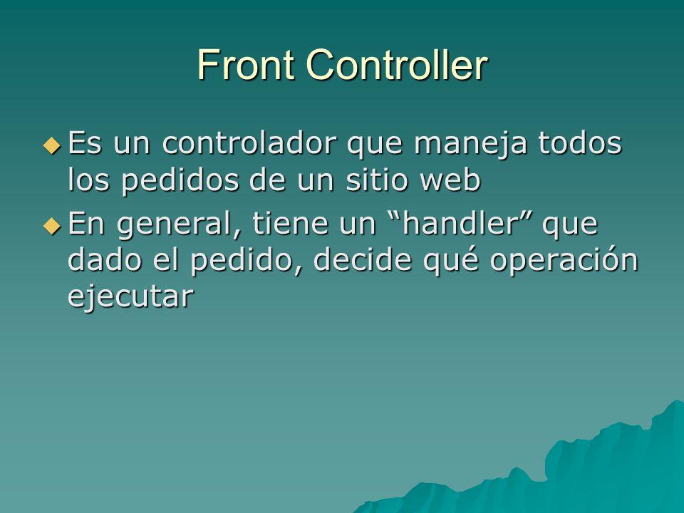 Front Controller Es un controlador que maneja todos los pedidos de un sitio web Es un controlador que maneja todos los pedidos de un sitio web En gene