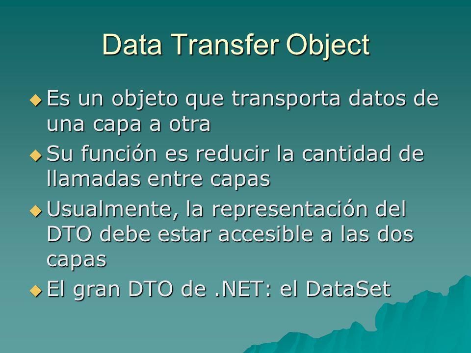 Data Transfer Object Es un objeto que transporta datos de una capa a otra Es un objeto que transporta datos de una capa a otra Su función es reducir l