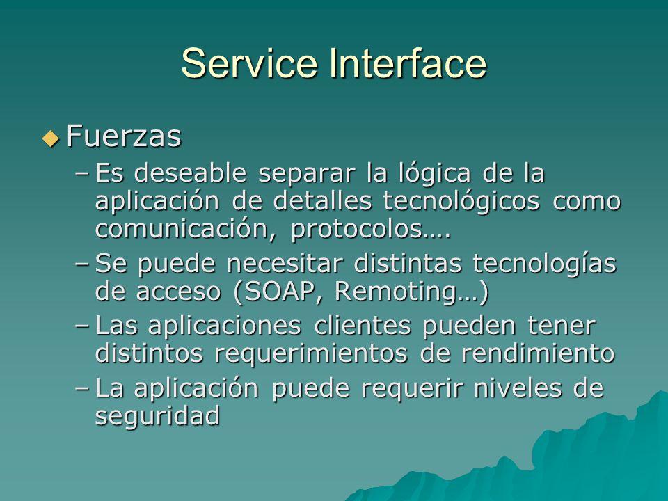 Service Interface Fuerzas Fuerzas –Es deseable separar la lógica de la aplicación de detalles tecnológicos como comunicación, protocolos…. –Se puede n