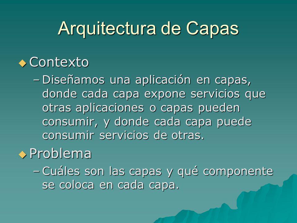 Arquitectura en Capas Solución Solución –Una aplicación en 3 capas de servicios: Presentación Presentación Negocios Negocios Datos Datos –Hay servicios de base que todas las capas utilizan