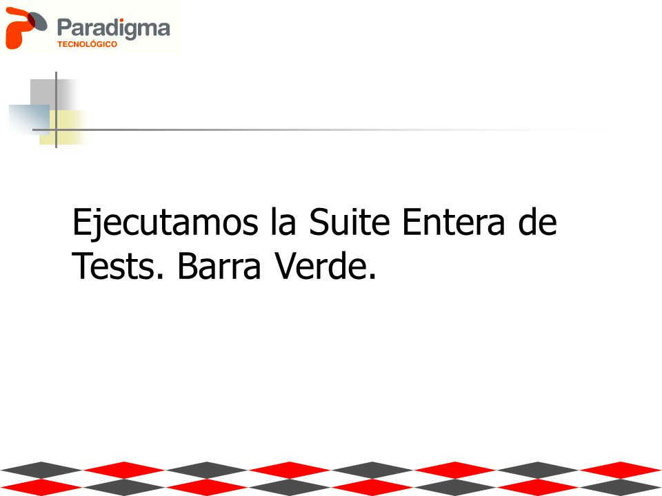 Ejecutamos la Suite Entera de Tests. Barra Verde.