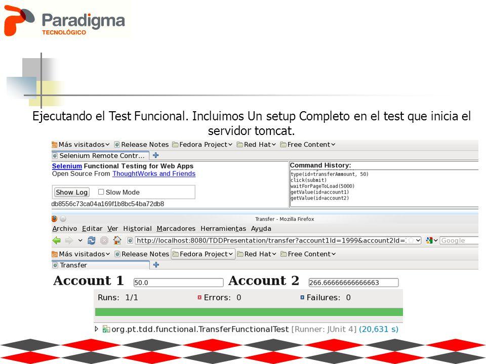 Ejecutando el Test Funcional. Incluimos Un setup Completo en el test que inicia el servidor tomcat.