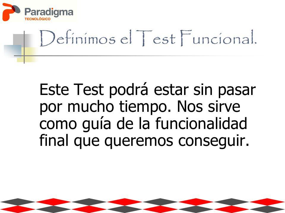 Definimos el Test Funcional. Este Test podrá estar sin pasar por mucho tiempo. Nos sirve como guía de la funcionalidad final que queremos conseguir.