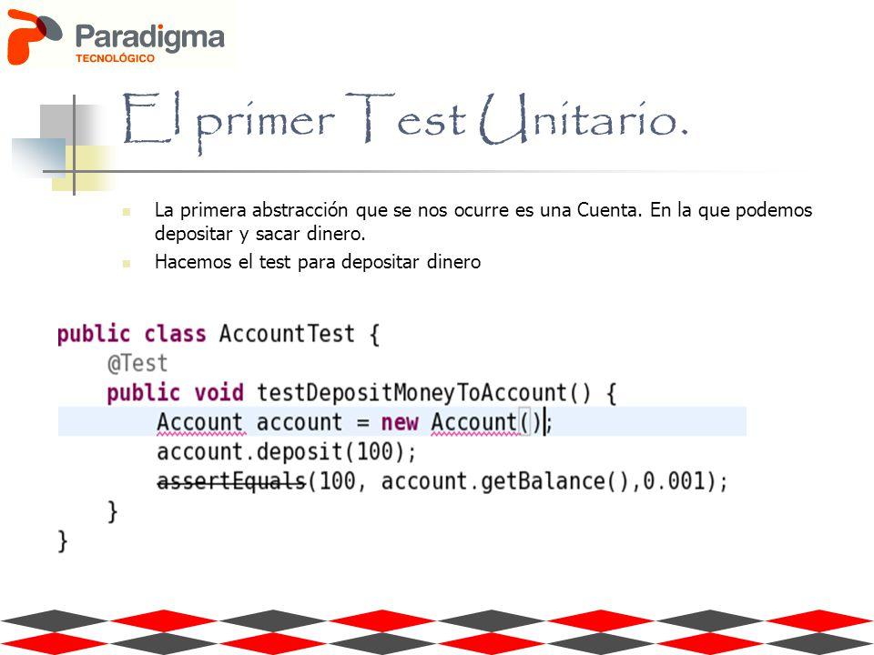 El primer Test Unitario. La primera abstracción que se nos ocurre es una Cuenta. En la que podemos depositar y sacar dinero. Hacemos el test para depo