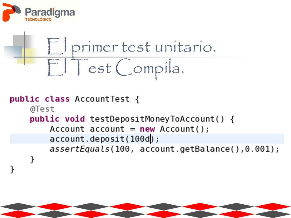 El primer test unitario. El Test Compila.