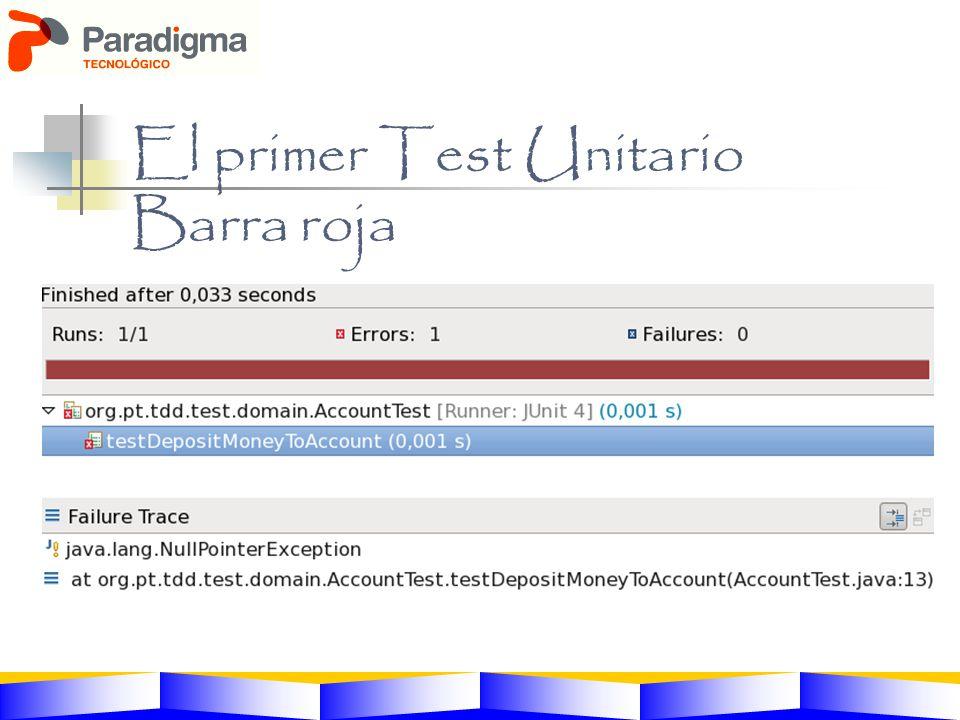 El primer Test Unitario Barra roja