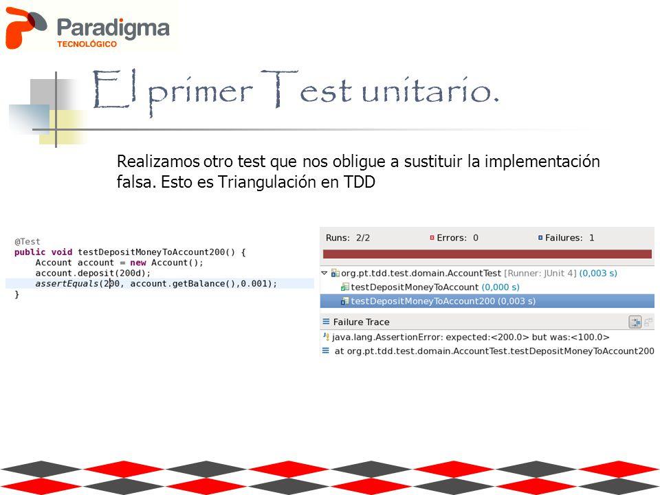 Realizamos otro test que nos obligue a sustituir la implementación falsa. Esto es Triangulación en TDD El primer Test unitario.
