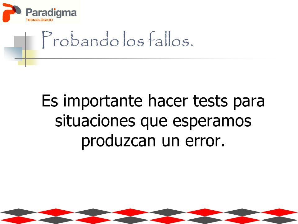 Es importante hacer tests para situaciones que esperamos produzcan un error. Probando los fallos.