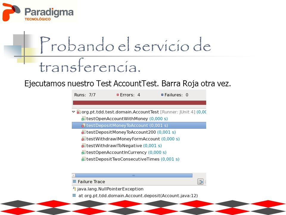 Ejecutamos nuestro Test AccountTest. Barra Roja otra vez. Probando el servicio de transferencia.