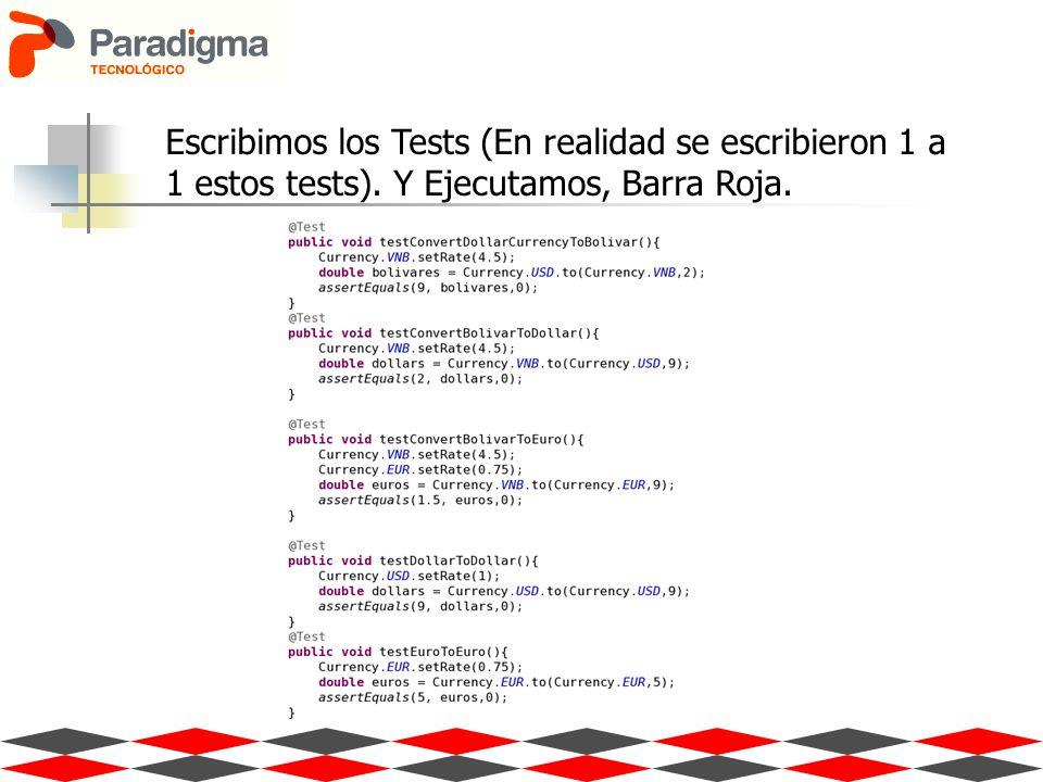 Escribimos los Tests (En realidad se escribieron 1 a 1 estos tests). Y Ejecutamos, Barra Roja.