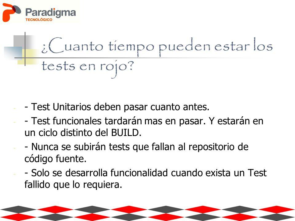 ¿Cuanto tiempo pueden estar los tests en rojo? - - Test Unitarios deben pasar cuanto antes. - - Test funcionales tardarán mas en pasar. Y estarán en u