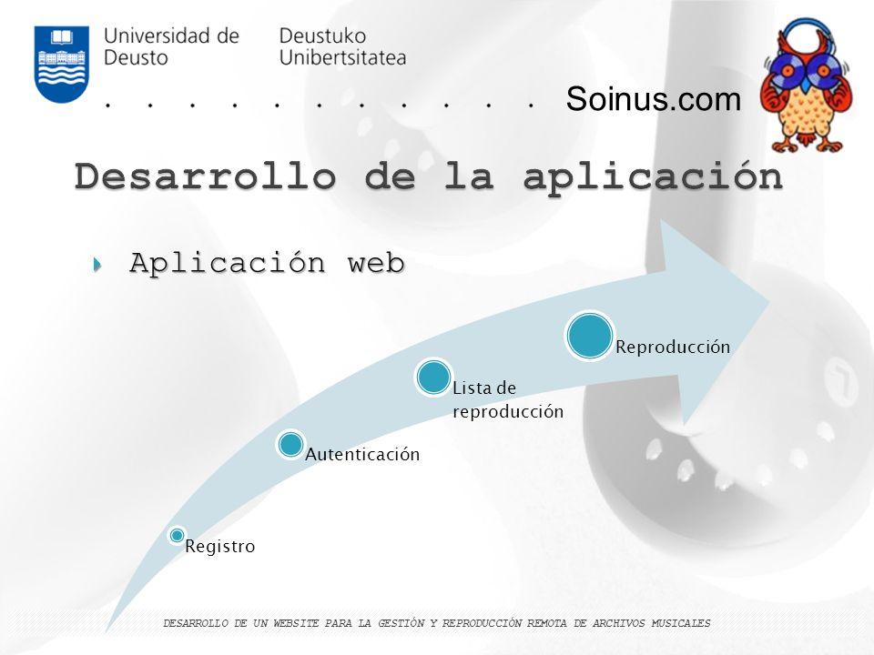 Soinus.com DESARROLLO DE UN WEBSITE PARA LA GESTIÓN Y REPRODUCCIÓN REMOTA DE ARCHIVOS MUSICALES Registro Autenticación Lista de reproducción Reproducc