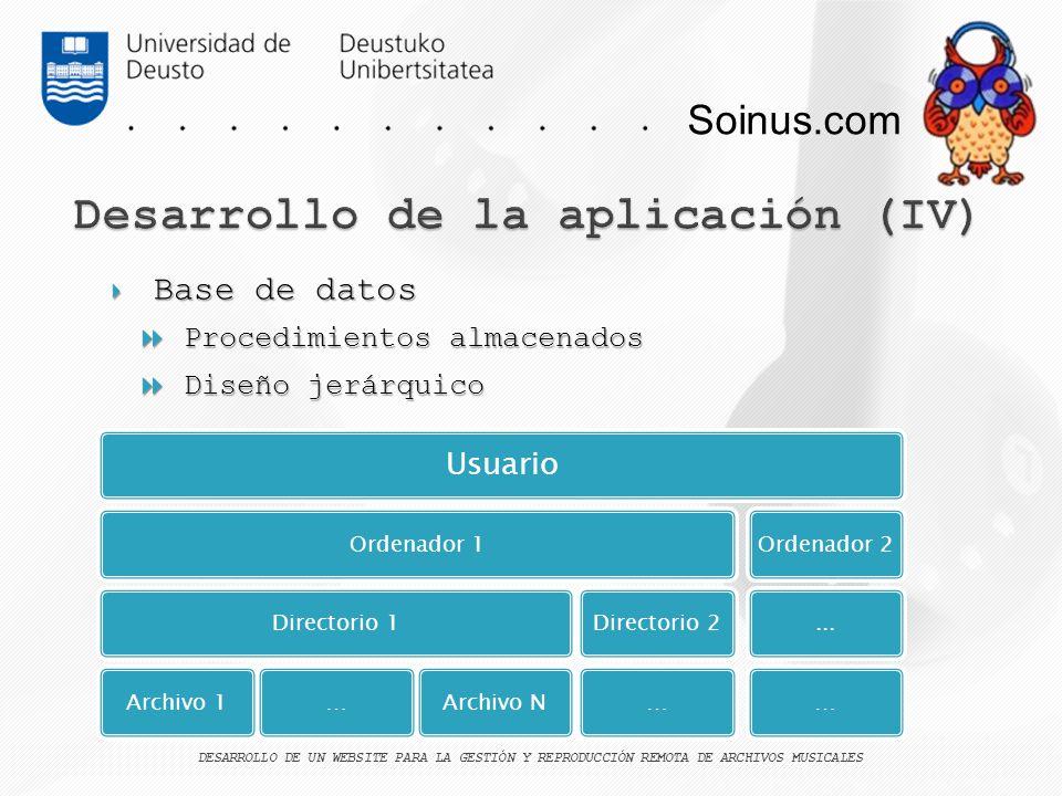 Soinus.com Base de datos Base de datos Procedimientos almacenados Procedimientos almacenados Diseño jerárquico Diseño jerárquico DESARROLLO DE UN WEBS