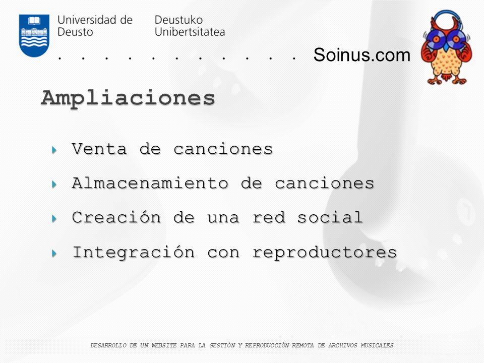Soinus.com Venta de canciones Venta de canciones Almacenamiento de canciones Almacenamiento de canciones Creación de una red social Creación de una re