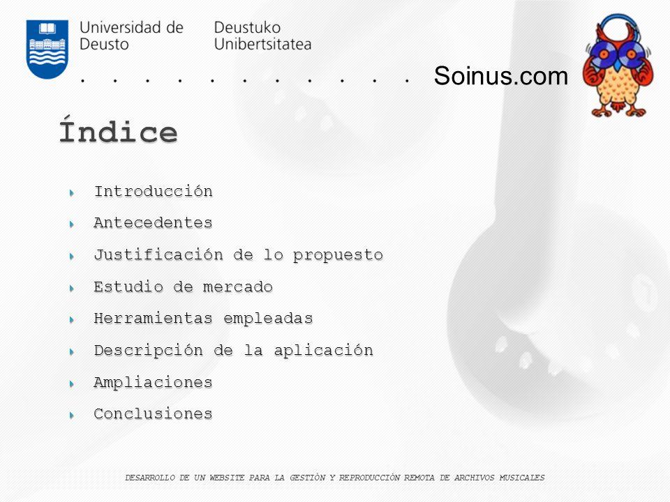 Soinus.com Introducción Introducción Antecedentes Antecedentes Justificación de lo propuesto Justificación de lo propuesto Estudio de mercado Estudio