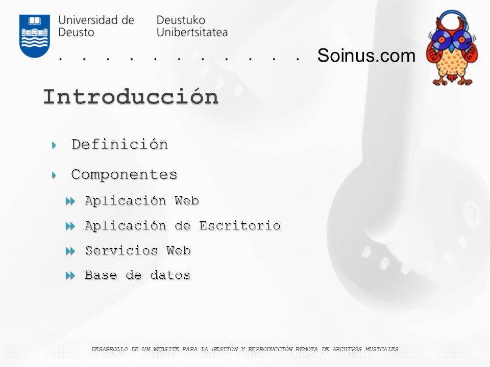 Soinus.com Definición Definición Componentes Componentes Aplicación Web Aplicación Web Aplicación de Escritorio Aplicación de Escritorio Servicios Web
