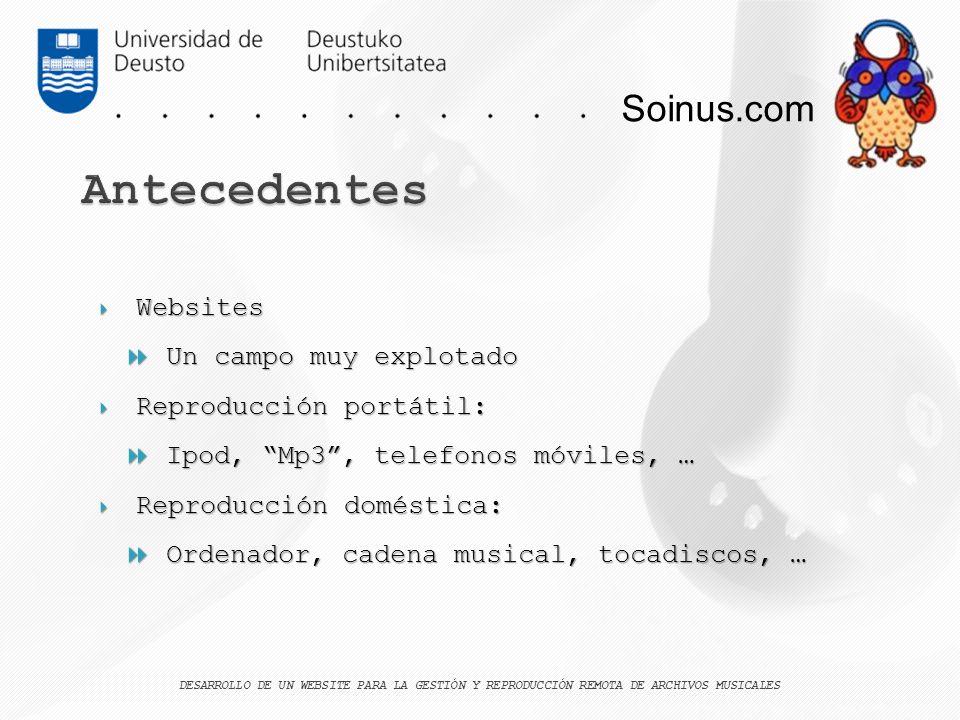 Soinus.com Websites Websites Un campo muy explotado Un campo muy explotado Reproducción portátil: Reproducción portátil: Ipod, Mp3, telefonos móviles,