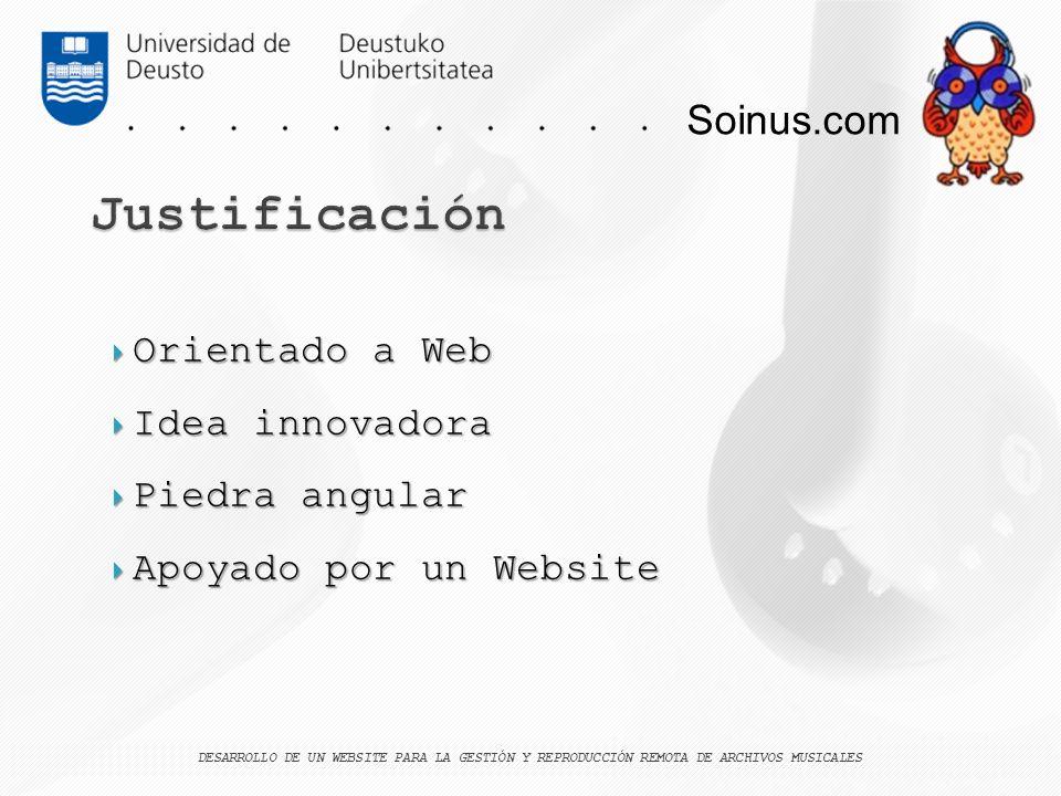 Soinus.com Orientado a Web Orientado a Web Idea innovadora Idea innovadora Piedra angular Piedra angular Apoyado por un Website Apoyado por un Website